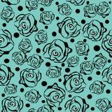 Nahtloses Muster mit Rosen im Blau Lizenzfreie Stockfotografie