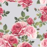 Nahtloses Muster mit Rosen Trocknen Sie Blätter einer Anlage auf dem alten befleckten grungy Papier stock abbildung