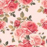 Nahtloses Muster mit Rosen Trocknen Sie Blätter einer Anlage auf dem alten befleckten grungy Papier lizenzfreie abbildung