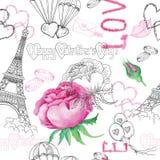 Nahtloses Muster mit Rosen und Liebessymbolen Lizenzfreie Stockfotos