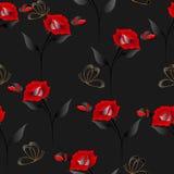 Nahtloses Muster mit Rosen und Schmetterlingen auf einem schwarzen Hintergrund Lizenzfreies Stockfoto