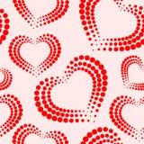 Nahtloses Muster mit Rotem und Weiß punktierte Herzen punkte Allein gefrorener Baum StValentine-` s Tag Stockbilder