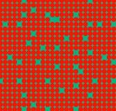 Nahtloses Muster mit roten Kreisen auf grünem Hintergrund Stockfoto