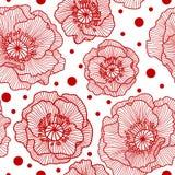 Nahtloses Muster mit roten Spitzemohnblumen Lizenzfreie Stockfotografie