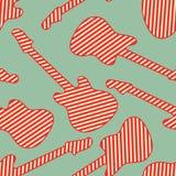 Nahtloses Muster mit roten weißen gestreiften Endgitarrenschattenbildern Stockfoto