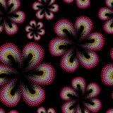 Nahtloses Muster mit roter tiare Blume Punkte, schwärmerisch verehrtes Muster Monoi-Blume Schwarzer Hintergrund Stockbild