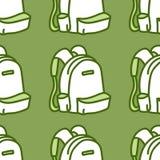 Nahtloses Muster mit Rucksack Schulvektor-Illustrationsgrün Stockbilder
