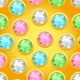 Nahtloses Muster mit runden Juwelen Stockfotografie