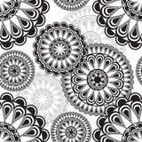 Nahtloses Muster mit runder Blumenverzierung stock abbildung