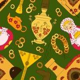 Nahtloses Muster mit russischem Samowar, Ofen und Teematerial Lizenzfreies Stockfoto