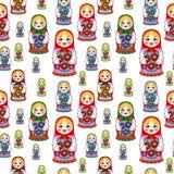 Nahtloses Muster mit russischen Puppen Lizenzfreie Stockfotografie