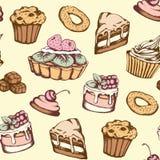 Nahtloses Muster mit Süßigkeiten und Kuchen lizenzfreie abbildung