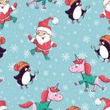 Nahtloses Muster mit Santa Claus, Schneemann, Pinguin und Einhorn Auch im corel abgehobenen Betrag stock abbildung