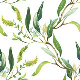 Nahtloses Muster mit schönen Blumen, Aquarellmalerei Stockbild
