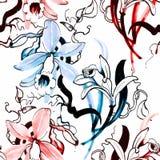 Nahtloses Muster mit schönen Blumen, Aquarellmalerei Lizenzfreie Stockbilder
