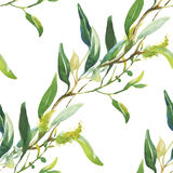 Nahtloses Muster mit schönen Blumen, Aquarellmalerei Stockfotografie