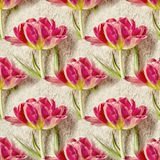 Nahtloses Muster mit schönen Tulpenblumen Nahtloser mit Blumenhintergrund Lizenzfreie Stockfotos