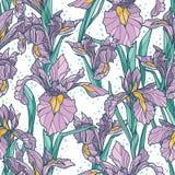 Nahtloses Muster mit schöner Iris blüht, Art- DecoArt Lizenzfreies Stockfoto