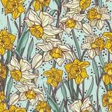 Nahtloses Muster mit schöner Narzisse blüht in der Mosaikart Lizenzfreies Stockfoto