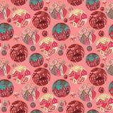 Nahtloses Muster mit Schüssen von Städten in den roten Tönen Lizenzfreies Stockfoto