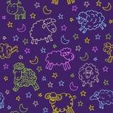 Nahtloses Muster mit Schafen in der Nacht Stockbilder