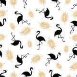 Nahtloses Muster mit Schattenbild eines Flamingos und Palme verzweigen sich auf einen weißen Hintergrund Vektor Eine einfache Sch Lizenzfreies Stockbild