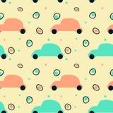 Nahtloses Muster mit Schattenbild von Retro- Autos und von abstrakten Kreisen lizenzfreie abbildung