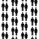 Nahtloses Muster mit Schattenbildern der Person Stockfoto