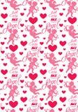 Nahtloses Muster mit Schattenbildern des Engels und des Herzens Stockfoto
