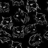 Nahtloses Muster mit Schattenbildern von Porträts von Katzen, schwarzes wh Stockfotos