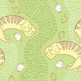 Nahtloses Muster mit Schlafenkatze und -maus Stockbilder