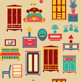 Nahtloses Muster mit Schlafzimmersatzmöbeln - Illustration Stockfoto