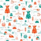 Nahtloses Muster mit Schlaufe, Stricknadeln, Mannequin, Kleid, Aufhänger, Reißverschluss, Nadeln, Muffe, Stifte, Faden, Knöpfe, vektor abbildung