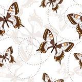 Nahtloses Muster mit Schmetterlingen Stockfotografie