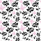 Nahtloses Muster mit Schmetterlingen und Rosen Lizenzfreies Stockfoto