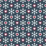 Nahtloses Muster mit Schneeflocken und Herzen Stockfotos