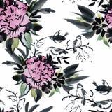 Nahtloses Muster mit schönen Blumen, Aquarellmalerei Lizenzfreie Stockfotos