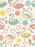 Nahtloses Muster mit Schwänen. Stockfotos