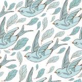 Nahtloses Muster mit Schwalbenvögeln und schönen Blumen Vektorstickerei für Modegewebe und -gewebe lizenzfreie abbildung
