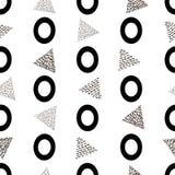 Nahtloses Muster mit schwarzem zählbaremnull und Dreiecke auf dem weißen Hintergrund lizenzfreie abbildung