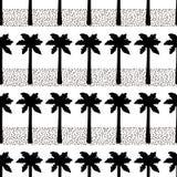 Nahtloses Muster mit schwarzen Palmen und Punkten Lizenzfreie Stockfotografie