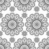 Nahtloses Muster mit schwarzes mehndi Blumenhennastrauchspitze buta Dekorationseinzelteilen in der indischen Art Stockfotografie
