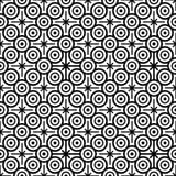 Nahtloses Muster mit Schwarzweiss-Kreisen und acht gezeigten Sternen Lizenzfreies Stockbild