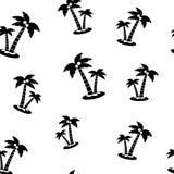 Nahtloses Muster mit Schwarzweiss-Palmen mit Kokosnüssen auf weißem Hintergrund Vektor stock abbildung