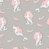 Nahtloses Muster mit Seepferdchen Lizenzfreie Stockfotos