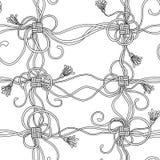 Nahtloses Muster mit Seilen, Knoten und Quasten Lizenzfreie Stockfotos