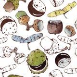 Nahtloses Muster mit Semipainted-Aquarell-Samen und Nüssen Stockbilder