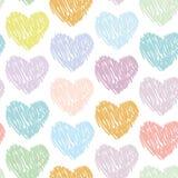 Nahtloses Muster mit Skizzenherzen auf einem weißen Hintergrund paste Lizenzfreie Stockfotos
