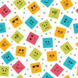 Nahtloses Muster mit smileyquadraten Nette Zeichentrickfilm-Figuren Stockfoto