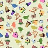Nahtloses Muster mit Sommergartenwerkzeugen Stockfotos